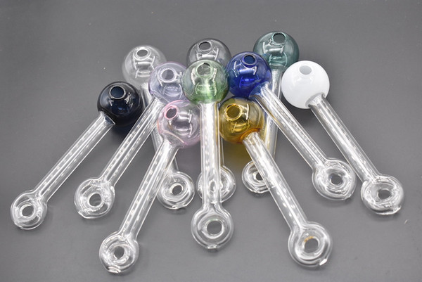 Mixed 10colors Necklace glass oil pipe cheap thick heady glass oil burner hand tobacco pipe for smoking