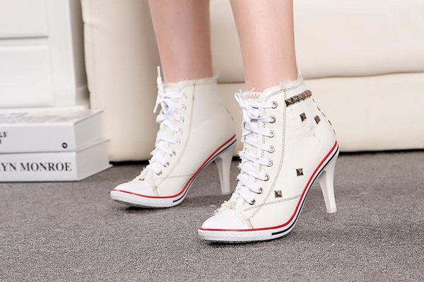 Women canvas sexy denim high heels rivets shoes fashion high heels shoes