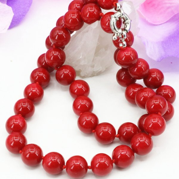 whole sale8 10 12mm artificial coral red stone beads necklace for women fashion statement chain choker clavicle jewels 18inch B3212
