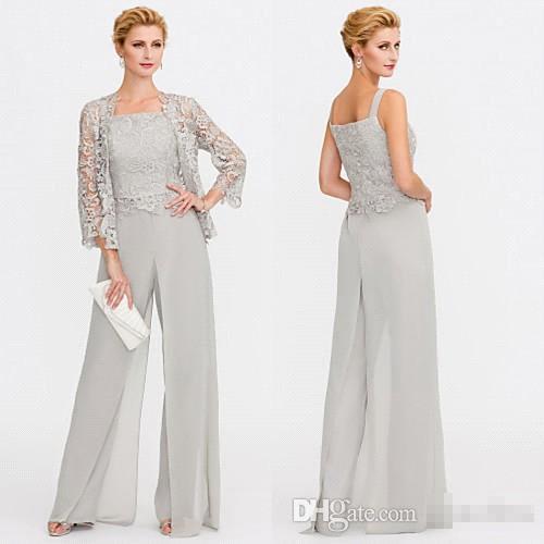 Date gris mère de la mariée robes deux pièces vestes en dentelle robes mères pour événements de mariage pantalon costume robe de soirée BC005