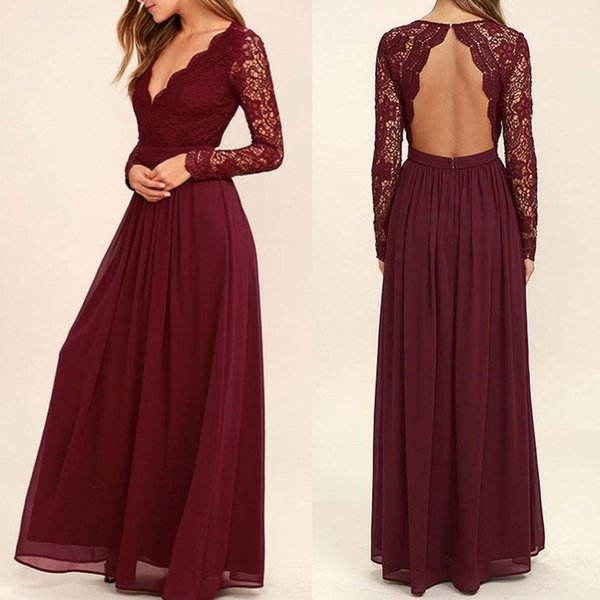 2019 Lace Burgundy Bridesmaid Dresses Chiffon Skirt Illusion Bodice Long Sleeves A-Line Junior Counrtry Bridesmaids Dresses Cheap BA6895