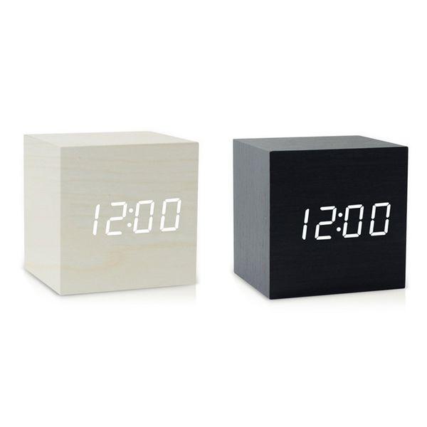 Mini cubo de madeira relógio de mesa de controle de voz relógio de mesa digital led digital mesa de relógio nixie sem rádio madeira de alarme para as crianças
