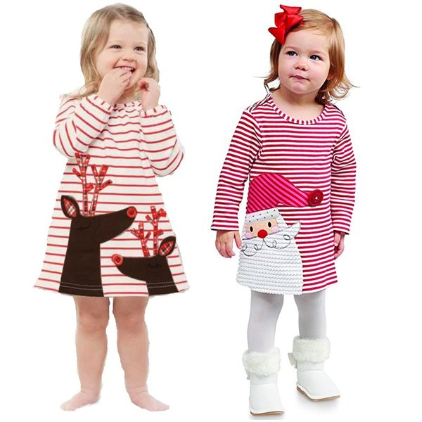 Santa Claus Baby Girl Dresses Stripe Christmas Costumes Children Clothes Girls Jumper Infant Dresses Toddler Outfits Shirts Tops Skirts
