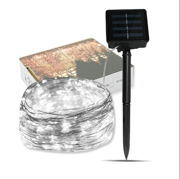 New solar energy copper wire string solar Christmas decoration lamp string (10 meters 100 lights) insert courtyard lights