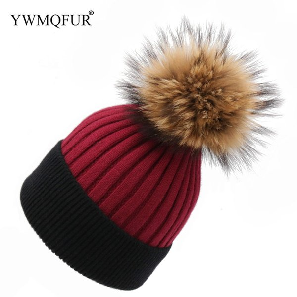 Winter Women Hats Knitted Girl Hat With Raccoon Fur Ball Novelty Female Patchwork Skullies Beanies Caps 2018 New Arrival YWMQFUR