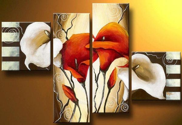 100% handmade boa qualidade pintura grupo 4 painéis lírio pintura abstrata da flor arte abstrata desconto melhor pintura a óleo art deco pinturas