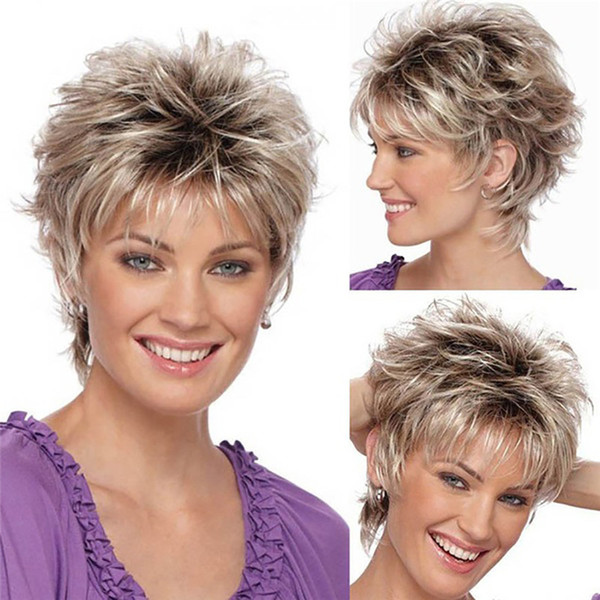 Fashion Wig Short Haircut Curly Color Gradient Wigs Short Human Hair Synthetic 10.8