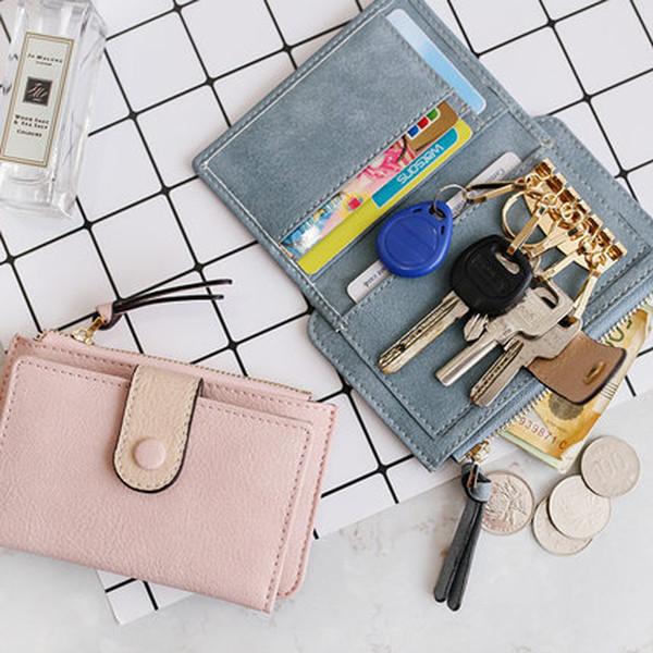 Mantenedor multifuncional para Auto Keys ID Business Card Holder Monedas para mujeres pu cuero coche clave organizador