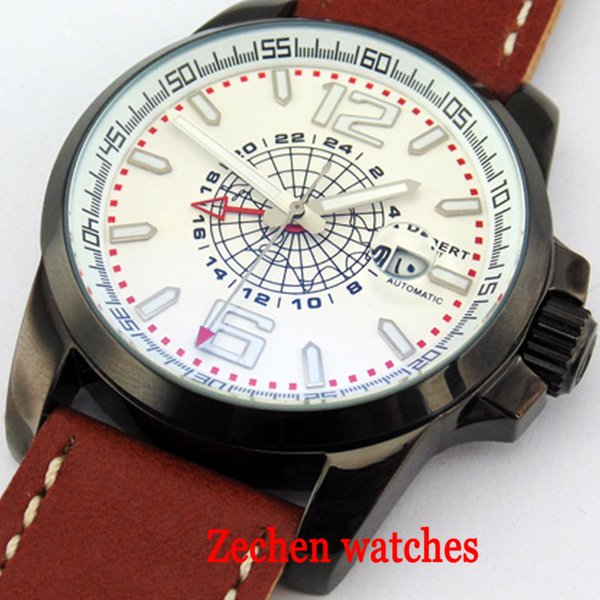 44mm Debert white stainless steel dial mechanical watch date window GMT automatic mechanical watch leather strap men's