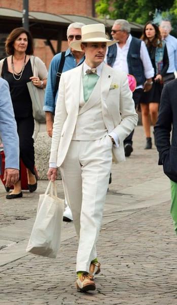 Male Suit Latest Coat Pants Designs Summer Beach Linen Men Blazer Jacket Smart Casual Tuxedo Double Breasted Vest 3 Pieces