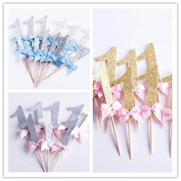 Gold Glitter Pink Number Cupcake Topper Baby Shower Suministros de decoración del partido Decorar Flag Bowknot Happy Birthday Ceremony 3 5ss bb