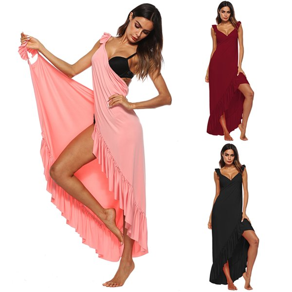 Ruffle Swimsuit Cover Ups For Women High Low Backless Beach Wrap Long Dress Black Red Watermelon S-XL