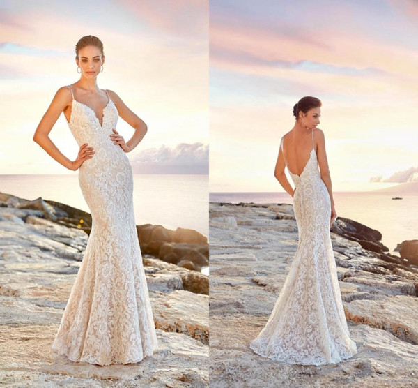 Sexy Open Back Lace Mermaid Wedding Dresses Spaghetti Straps Bridal Gown Summer Beach Boho Vestidos De Novia Bridal Wedding Dress Cheap Lace Wedding