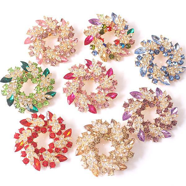 Luxus Bling Österreichischen Kristall Blume Kranz Broschen Pins Bunte Rhinstone Schöne Pullover Broach Schal Schnalle Brosche Regenbogen Grün Purpl