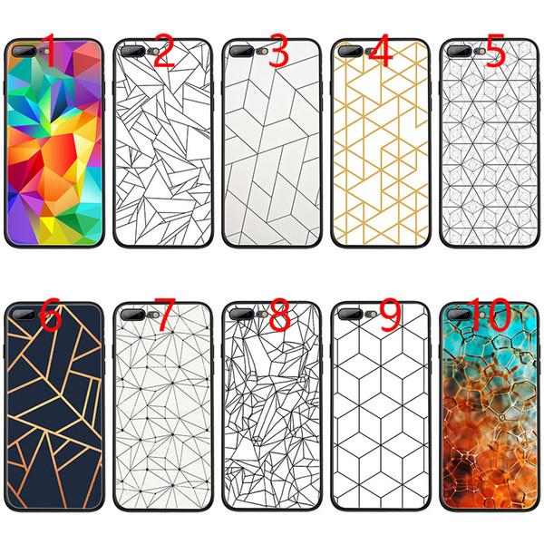 Dazed Geometric Shapes line Pattern black stone Soft Black TPU Phone Case for iPhone XS Max XR 6 6s 7 8 Plus 5 5s SE Cover