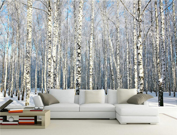 top popular Custom Any Size Photo Background Wallpaper Winter Snow Birch Forest Art Wall Covering BedRoom Murals Modern WallPaper Home Decor 2021