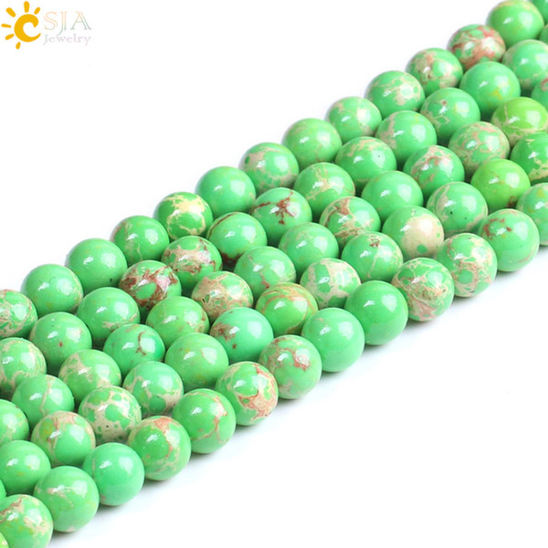 CSJA 8mm Emperor Turquoise Loose Mala Beads for Jewelry Making Green Gemstone Round Beaded Bracelet Necklace Earring DIY 48pc Wholesale F221