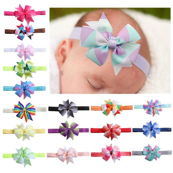 18 Colors Gradient Thread Bow Hair Band Baby Bow Headband Hair Clip Rainbow Girl Hair Accessories HKY798