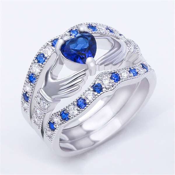 Blue Stone Wedding Rings for Women Fashion Silver Ring Set Heart Crystal Ring Engagement Jewelry Bague Aner Anillos Mujer O3F306