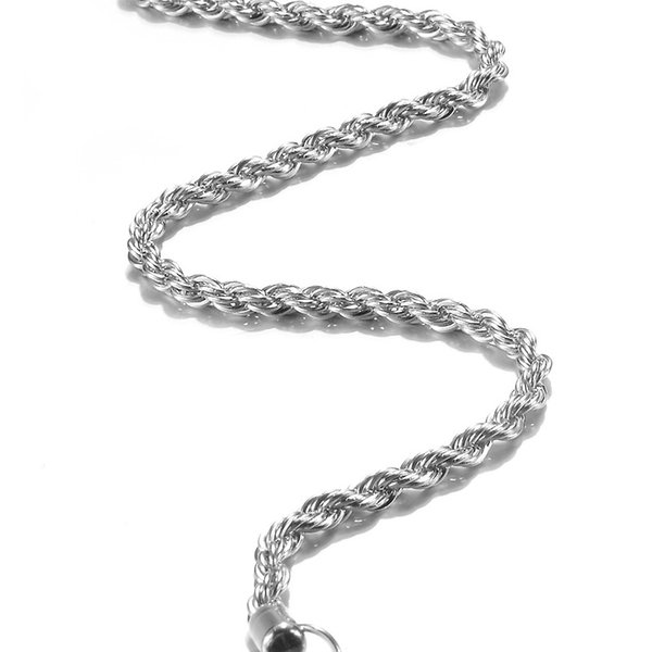 Sale Promotions ! 925 stamped Silver plated Twisted rope Chain Necklace Lobster Clasps Chain Jewelry Size 3mm 16inch --- 24inch