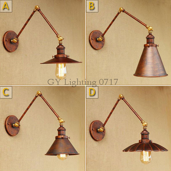 Nordic Vintage Swing arm Wall Lamp Creative Personality Restaurant Study Bedroom Bedside Folding Wall Lamp Old Rustic sconces