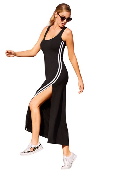 Sexy Women Long Summer 2018 Hot O-neck Racer Stripe Detail Black Sleeveless Slit Maxi Dresses Casual Sundress