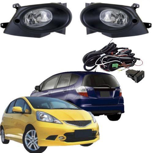 Car Fog Lights for HONDA FIT / JAZZ SPORT TYPE 2008~2010 Clear Halogen Bulb Front Fog Lights Bumper Lamps Kit