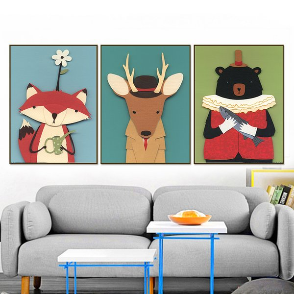 Children Room Wall Pictures Home Decoration Canvas Art Animal Prints Bird Bear Fox Deer Owl Painting Nordic Style Fashion Poster