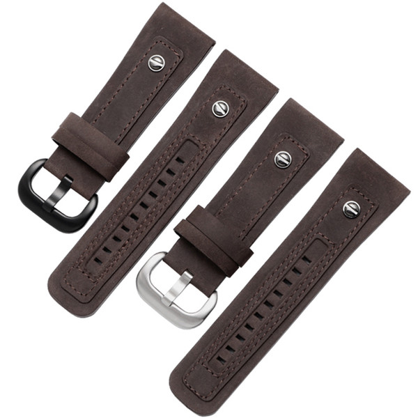 Quality nubuck leather strap 28mm brown genuine leather watchband replacement Mechanical men's watches Fit Q2/Q3