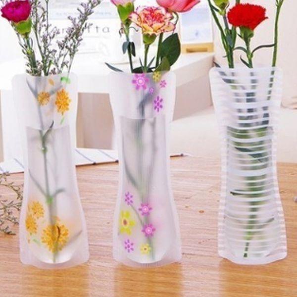 Hot 12*27 Unbreakable Foldable Reusable Plastic Flower Vase Creative Folding Magic PVC Vase Mix Color Home Decor Gift