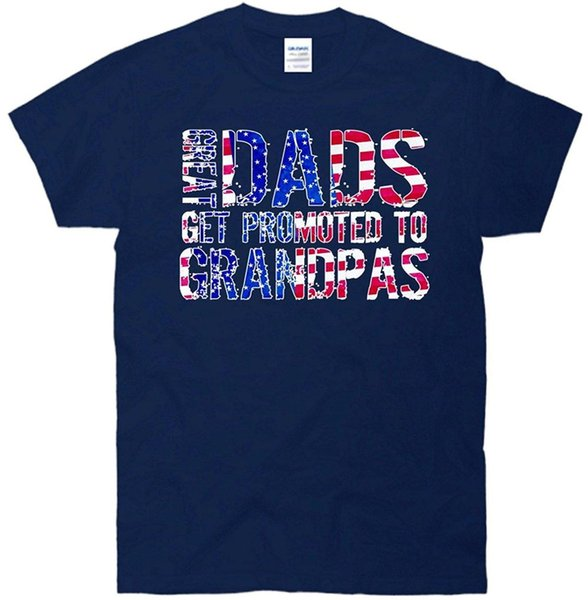 100% Cotton Short Sleeve Summer T Shirt Top Tee Usa-Great Dads Promoted To Grandpas T-Shirt Navy