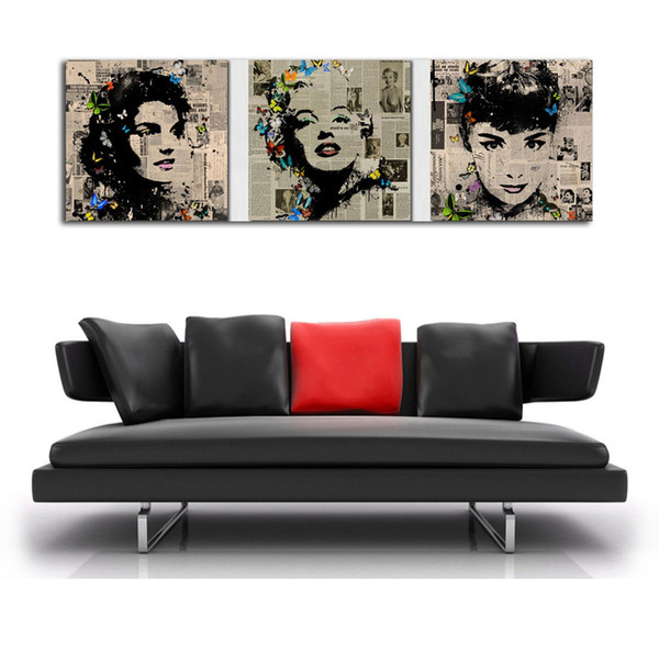 Marilyn Monroe and Audrey Hepburn,3 Pieces Canvas Prints Wall Art Oil Painting Home Decor (Unframed/Framed)