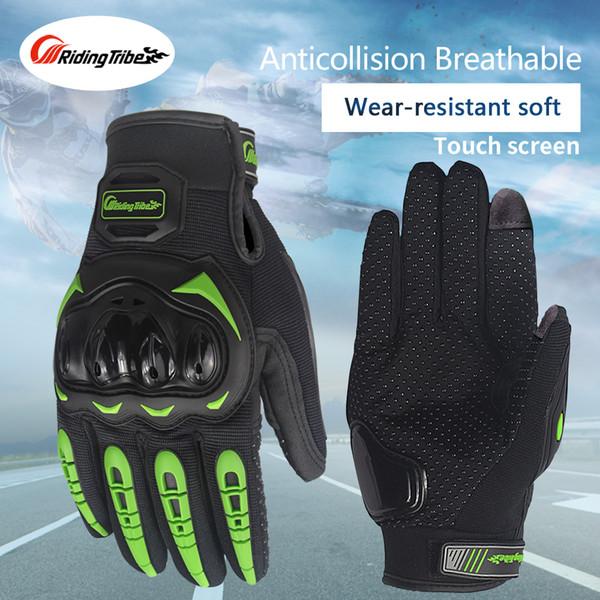 Езда племя сенсорный экран Мото перчатки дышащий защитное снаряжение гоночный велосипед нескользящие охранники перчатки лето черный зеленый MCS-17