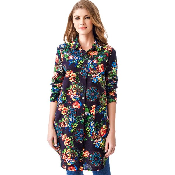 women casual blouses shirt long Sleeve Spring floral print blouse femme O Neck plus size 2XL BLUE womens tops and blouses