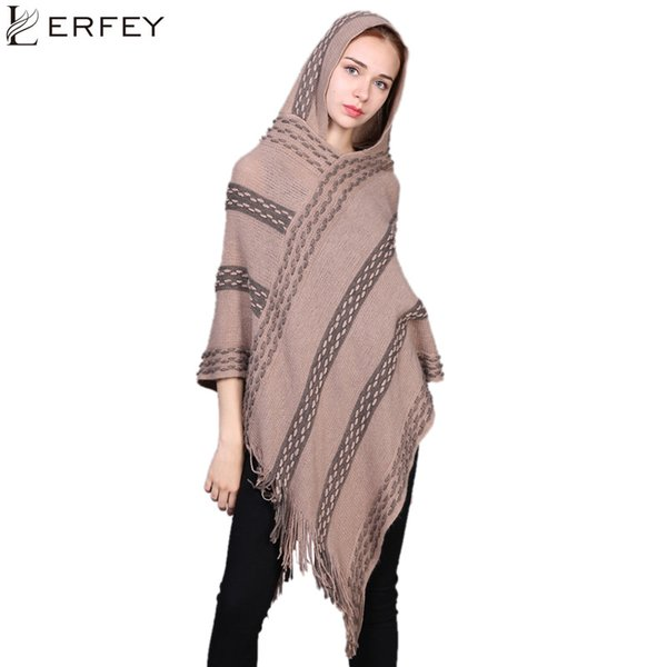LERFEY Autumn Winter Women Oversized Sweater Ponchos Capes Knitted Shawls Casual Warm Tassel Shawl Pull Pullovers Tops New Cloak