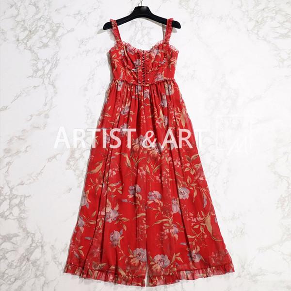 Svoryxiu 2018 High Quality Women's Summer Holiday Style Jumpsuits Ruffles Floral Print Spaghetti Strap Wide Leg Jumpsuits