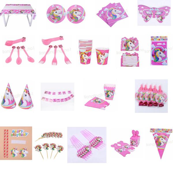 18styles unicorn theme party decoration happy birthday paper cup plated hat popcorn box unicorn theme party Christmas Toy set GGA575 30sets