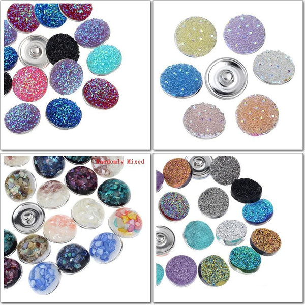 Free ePacket wholesale 120pcs/lot Mix 4 styles colors shell ginger snap button 18mm silver metal button charm fit snap jewelry
