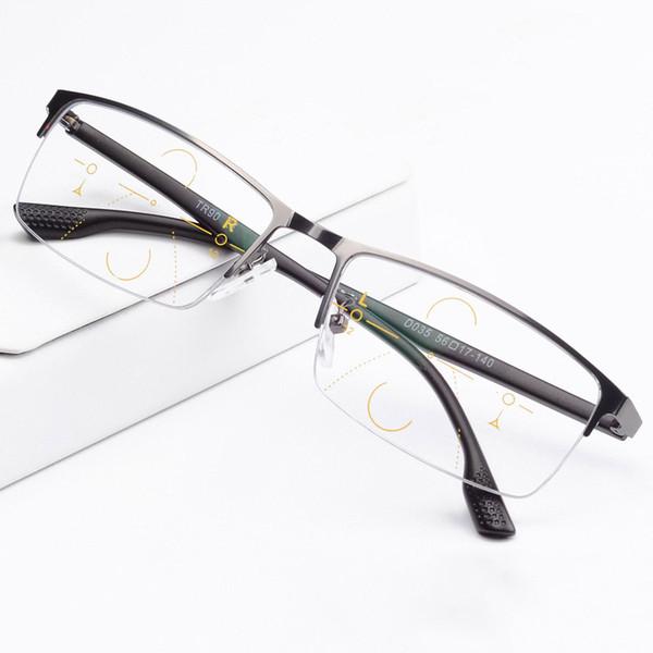 40f8bf67ebb Smart Zoom Asymptotically Multi-focal Progressive Bifocal Presbyopic Glasses  Titanium Alloy Frame+ Freeform Progressive Lenses