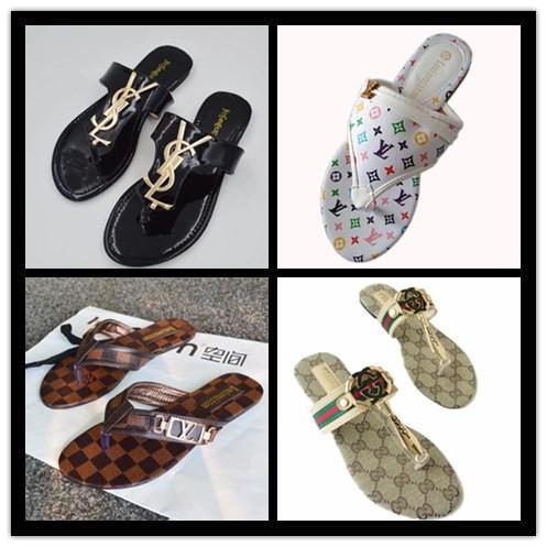 278c5a8237cd 2019 New Monogram Brand Women Thong Sandals Summer Women Beach Sandals  Famous Flip Fllops Large Free Shipping