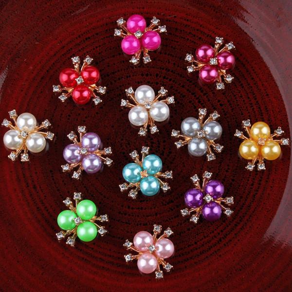 30PCS 20mm Newborn Gold Daisy Flatback Metal Rhinestone Button Shiny Triple Pearl Beads Decorative Buttons Craft Supplies ZK955