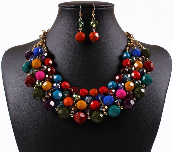 Bohemia Vintage Ethnic Style Exaggerated Diamond Multi-color Ball Necklace and Fish Hook Earrings Set Necklace Jewelry Set