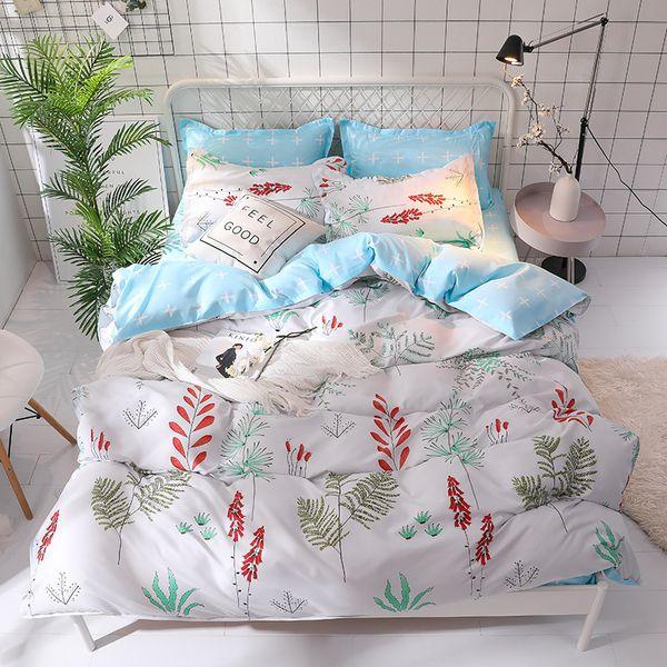 New Spring Flowers Print Bedding Set Beautful Plant Print Bed Sheet Pillowcases 4pcs Duvet Cover Sets Twin Full Queen King Linen