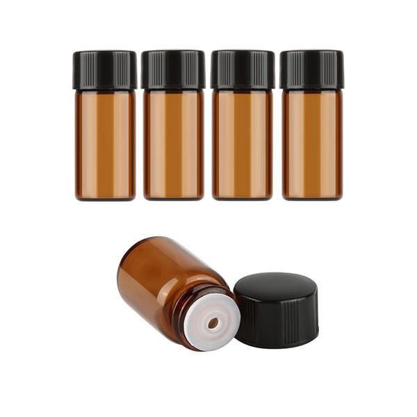 1000 pçs / lote 3 ml Amber Garrafa De Vidro Garrafa Vazia Para O Óleo Essencial de Perfume de Maquiagem Líquida Garrafas De Armazenamento De Marrom Escuro Recipientes