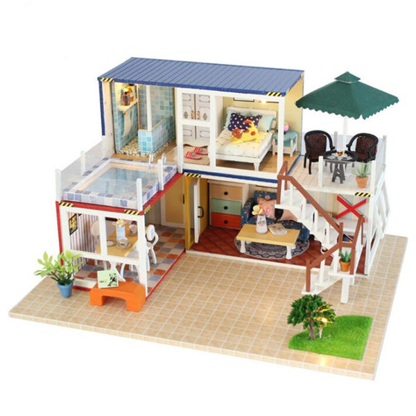 DIY Model Doll Houses Assembling Wood Doll House Toy 3D Dollhouse Kids Toy Dolls House Furniture Miniature Kit For Kids Gift