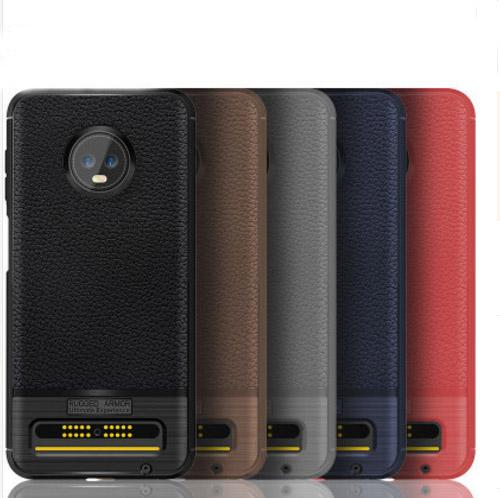 Carbon Fiber Lichee Skin Rugged Armor Anti-Shock TPU Leather case cover shell for Motorola Moto Z3 Force Z3 Play Z3