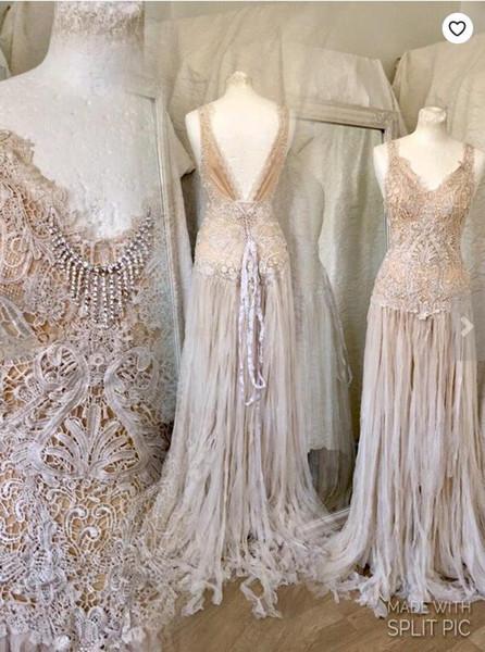 Tea stained Wedding Dresses V Neck A Line Lace Applique Boho Plus Size Bridal Gowns Cheap