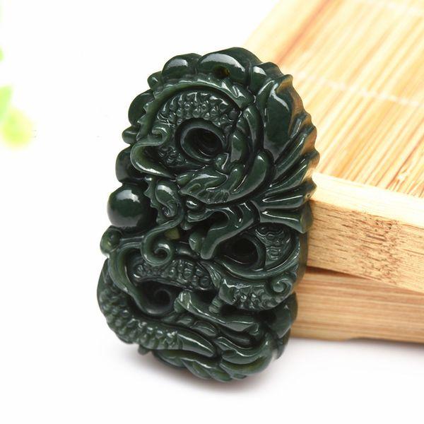 Kunst und Handwerk Halskette Artefakt Drachen Marke Anhänger Chinesisches Sternzeichen Exquisite natürliche Jade Business Geschenk Mode Herren 18zh jj