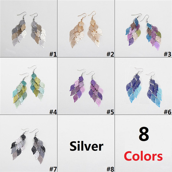 New Chinese Styles Fashion Copper Earrings Dangler Colorful 9 Leafs Earrings Jewelry 8 Colors Combinations D0601