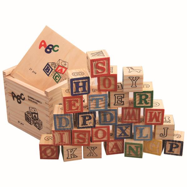 New Arrival 27pcs/set Imaginarium Discovery Wooden Alphabet & Numbers Building Blocks Wooden Letter Bricks Blocks Toys For Kids